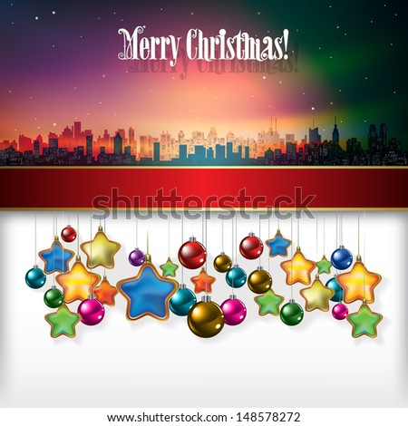 Abstract celebration background with Christmas decorations and silhouette of New York - stock vector