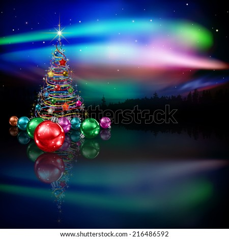 abstract celebration dark background with Christmas tree and forest - stock vector