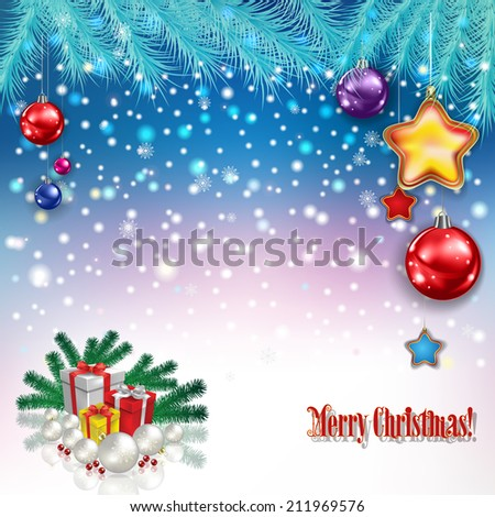 abstract celebration greeting with Christmas gifts and decorations - stock vector