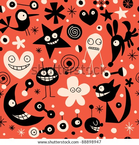 Abstract characters seamless pattern