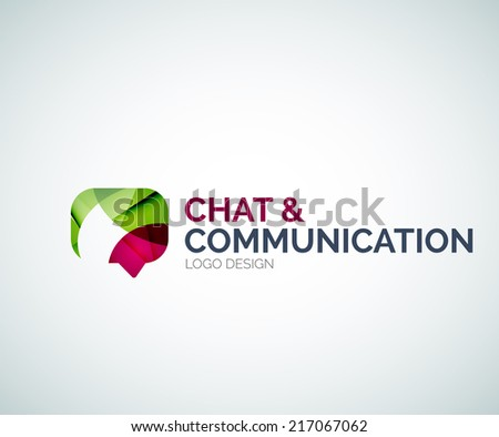 Abstract chat and communication logo design made of color pieces - various geometric shapes - stock vector