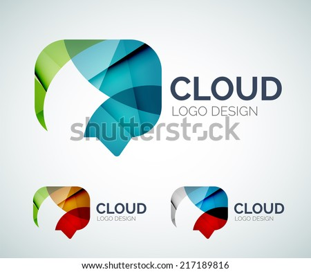 Abstract chat cloud logo design made of color pieces - various geometric shapes - stock vector