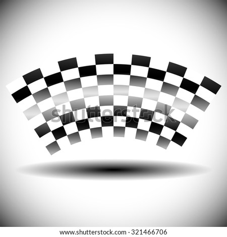 Abstract checkered (chequered) flag on white with shadow. - stock vector