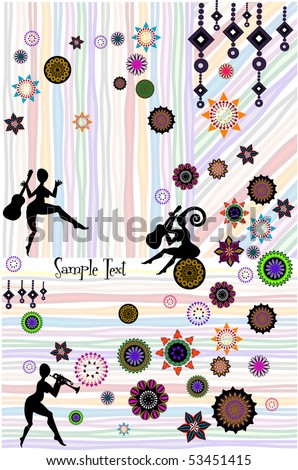 abstract cheerful background of the various elements - stock vector