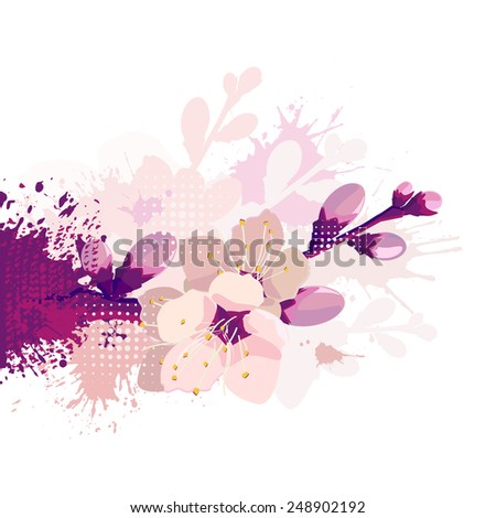 Abstract cherry blossoms. Vector - stock vector