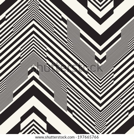 Abstract chevron motif striped textured seamless pattern. Vector.