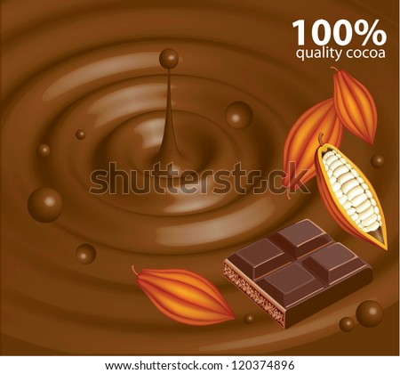 Abstract chocolate background with cocoa beans - stock vector
