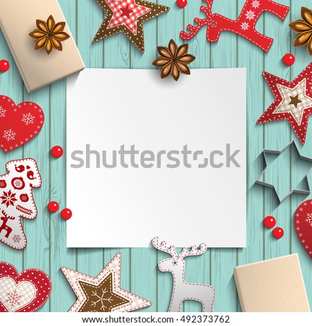 abstract christmas background, white sheet of paper lying among small scandinavian styled decorations on blue wooden desk, inspired by flat lay style, vector illustration, eps 10 with transparency