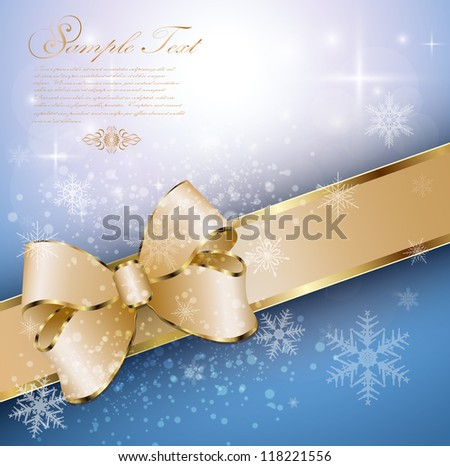 Abstract christmas background with banner, snowflakes and a bow, vector. - stock vector