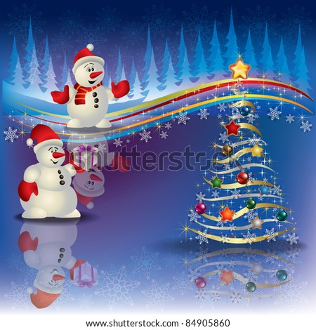 Abstract Christmas background with snowmen and tree - stock vector