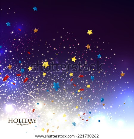 Abstract Christmas background with stars confetti for xmas design. Vector illustration.