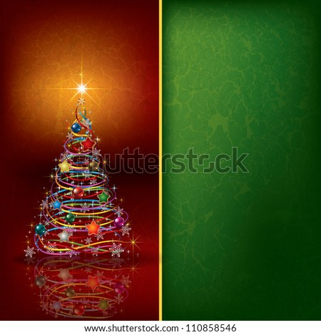 Abstract Christmas background with tree and decoration - stock vector