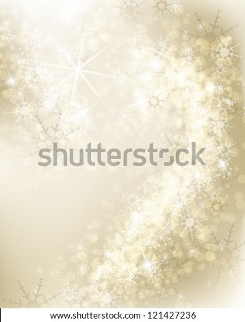 Abstract Christmas background with white snowflakes - stock vector