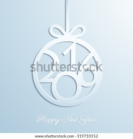 Abstract Christmas ball cut from paper on gray background. Christmas and New Year greeting card in minimalistic style. New year lettering. Banner. Invitation design. Vector eps10 illustration - stock vector