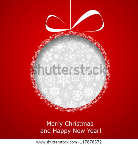 Abstract Christmas ball cutted from paper on red background. Vector eps10 illustration - stock vector