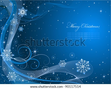 Abstract Christmas card with bright snowflakes on dark blue background. Vector, Illustrator 8. - stock vector