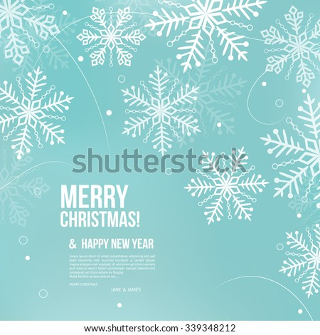Abstract Christmas card with snowflakes and wishing text.