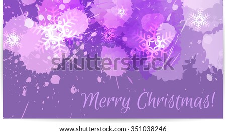 Abstract Christmas card with snowflakes in purple color - stock vector