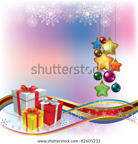 Abstract Christmas greeting with gifts and decorations - stock vector
