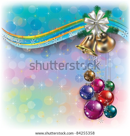 Abstract Christmas greeting with handbells and decorations