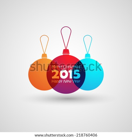 Abstract Christmas multicolored balls in flat style. holiday vector illustration. Merry Christmas and Happy new 2015 year  - stock vector