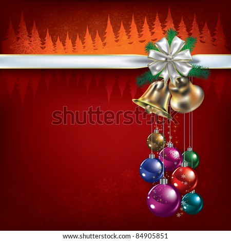 Abstract Christmas red greeting with decorations and bells - stock vector