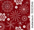 Abstract christmas red seamless  pattern with handwork snowflakes (vector) - stock vector