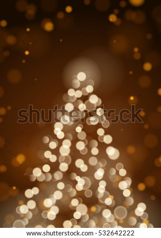 Abstract Christmas Tree By Unfocused Blurred Lights On The Vertical Brown Background
