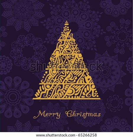 Abstract christmas tree card - stock vector