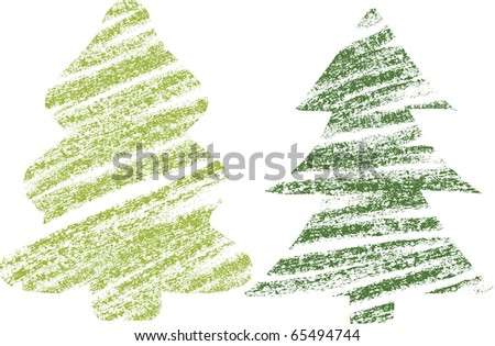 abstract christmas tree chalk drawing - stock vector