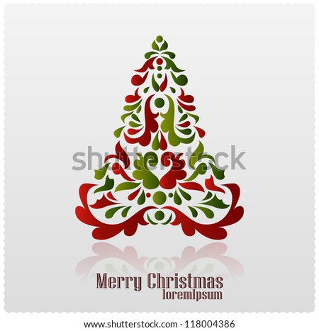 Abstract Christmas tree. Christmas card. vector - stock vector