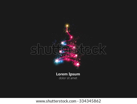 abstract christmas tree easy all editable - stock vector