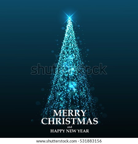 Abstract Christmas tree from light. Greeting card or invitation. Vector Illustration
