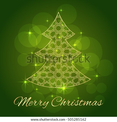 Abstract Christmas tree. Greeting, invitation card. Simple decorative red and gold. vector illustration