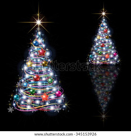 Abstract Christmas tree isolated on black background - stock vector