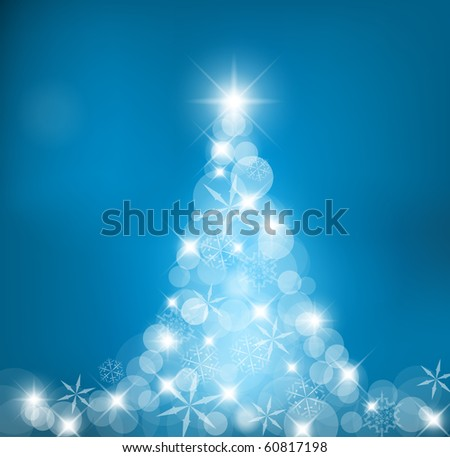 Abstract Christmas tree made of light and snow flakes - stock vector