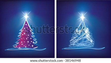 abstract christmas tree modern illustration in blue - stock vector