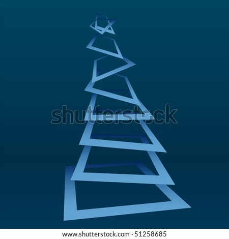 Abstract christmas tree on xmas background, vector illustration