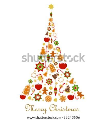 Abstract Christmas tree. Vector illustration - stock vector