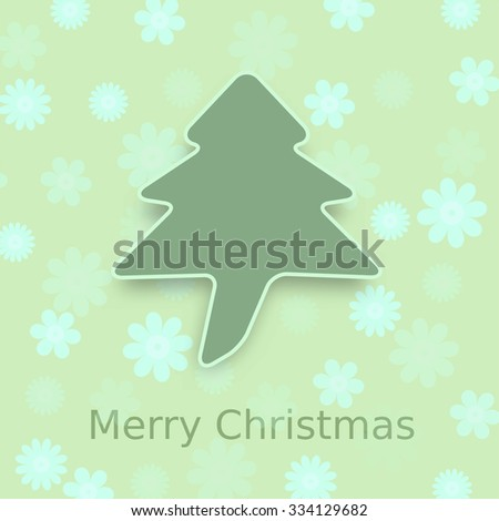 Abstract Christmas tree with flower background - stock vector