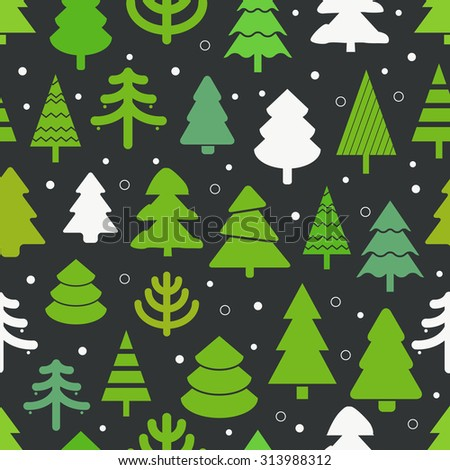 Abstract christmas trees seamless background. Design elements - stock vector