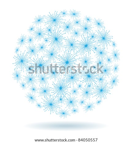 Abstract Christmas winter background of the blue stars in the form of a ball
