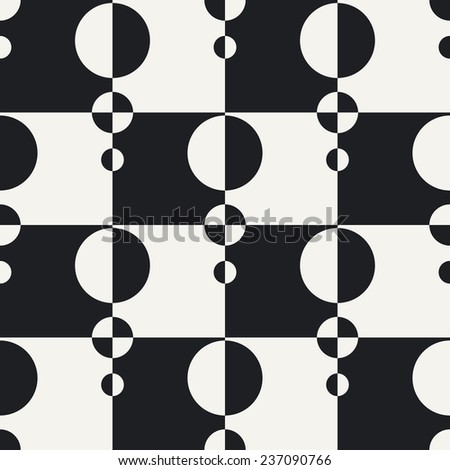 Abstract Circle and Square Pattern. Vector Seamless Monochrome Background - stock vector