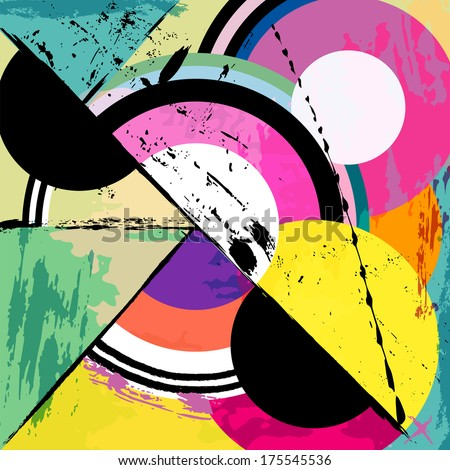 abstract circle background, retro/vintage style with paint strokes and splashes  - stock vector