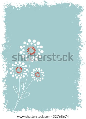 Abstract Circle Floral with Grunge Background