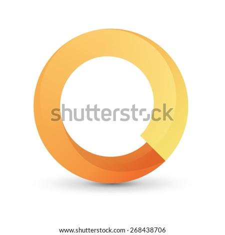 Abstract Circle - Orange tape round form. Vector Illustration isolated on white background