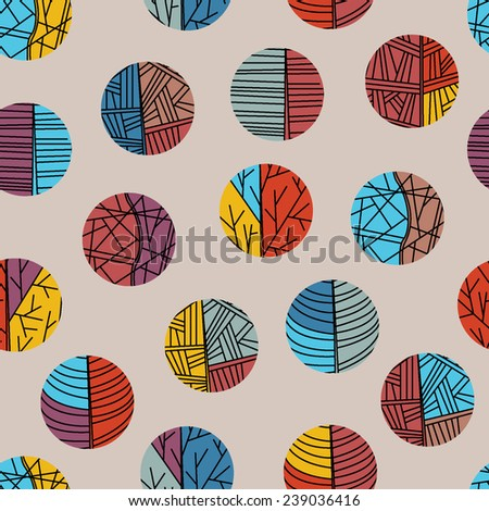 Abstract circle pattern. Set of festive circles. Decorative  texture for design textile, wrapping papers, packages.