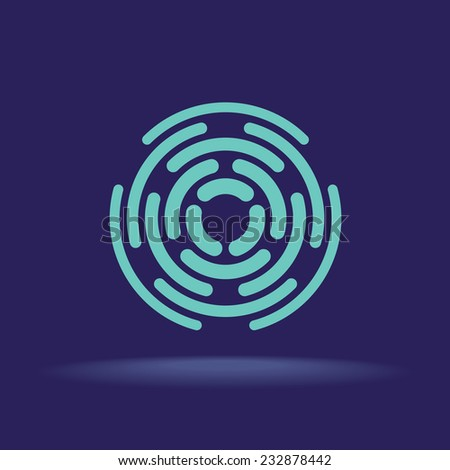 Abstract circle segments sign. Construction logo template. - stock vector