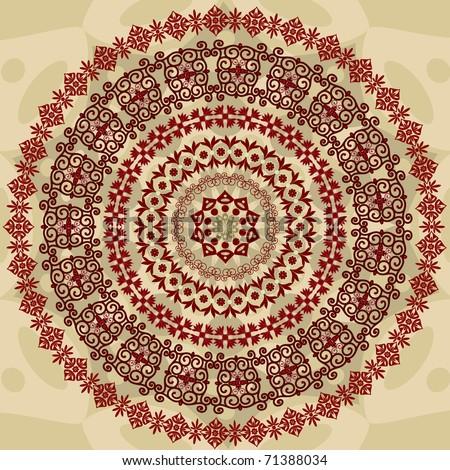 abstract circular pattern of arabesques - stock vector