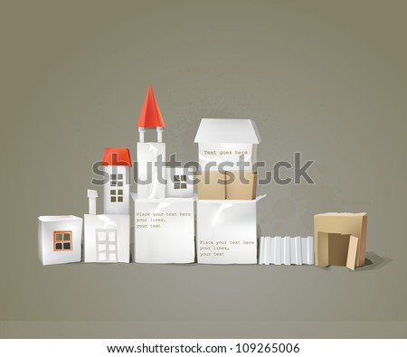 abstract city background made of paper cubes - stock vector